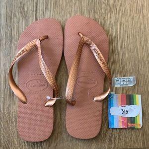 Havaianas, 41-42, copper, wide strap, new